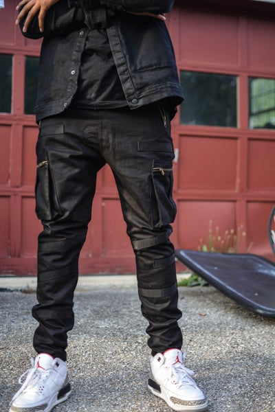 Image of Black Tactical Nylon Paneled Cargo Pants *Pre-order*