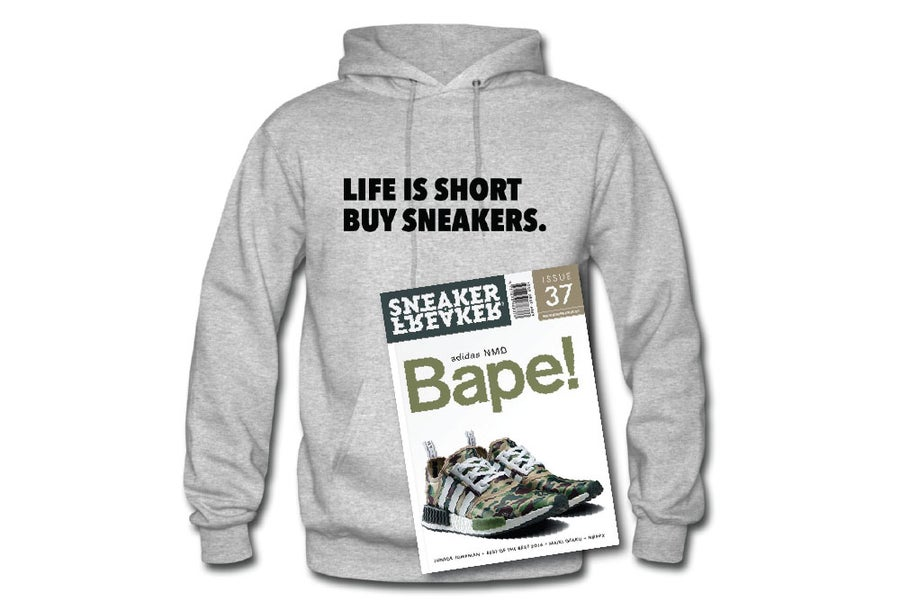 Image of HOODIE Grey/Black Life is Short Buy Sneakers