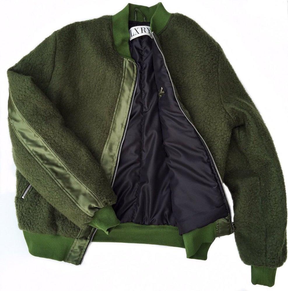 Image of Olive Sherpa/Nylon Bomber
