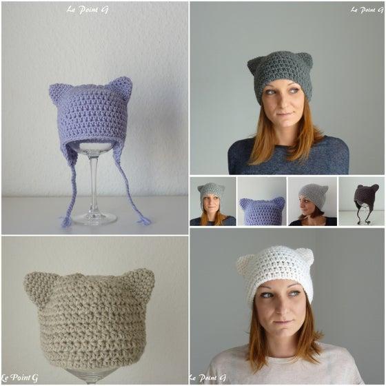 Image of Patron au crochet Bonnet Chat (6 tailles)