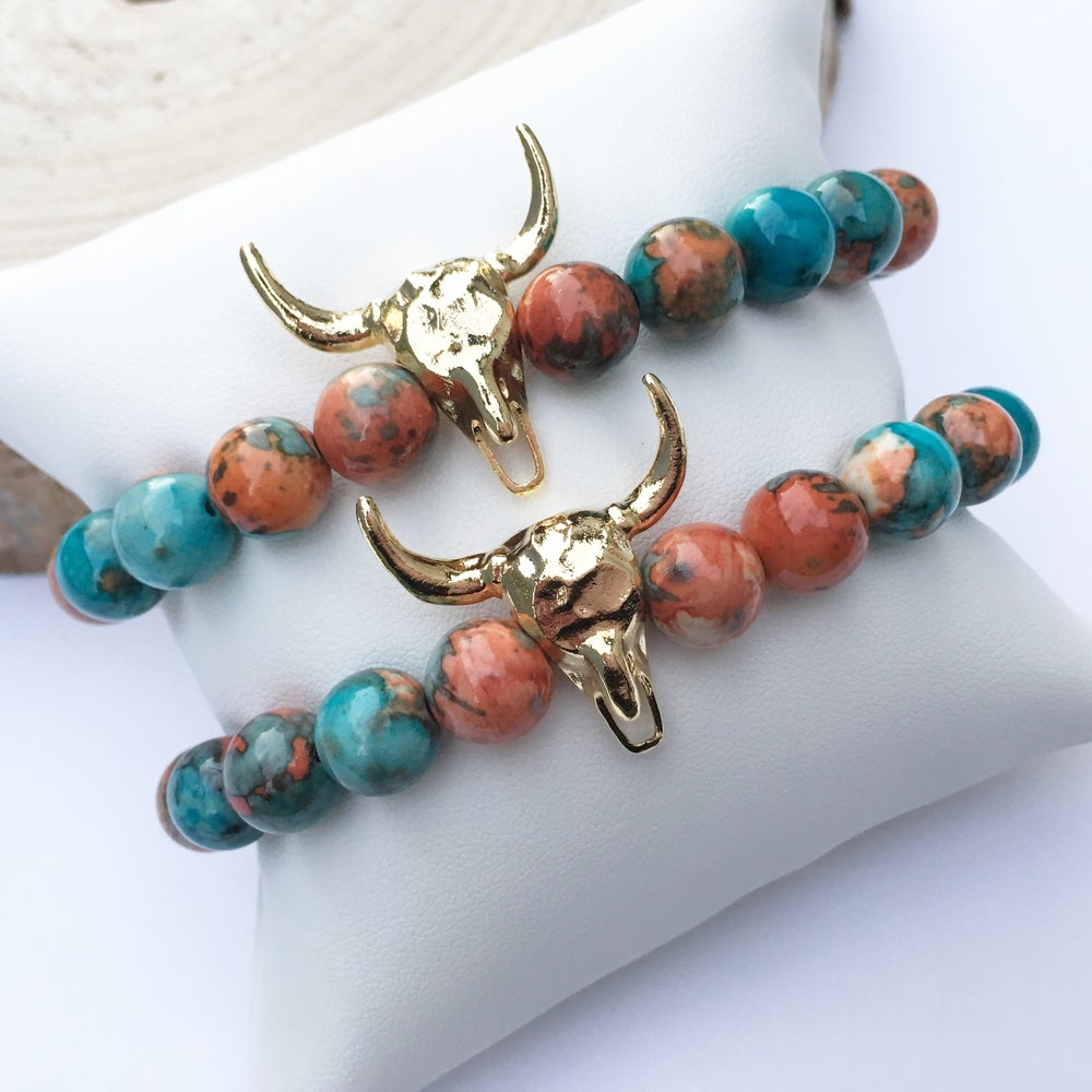 Image of Gold plated horn + mixed jasper beaded stretch bracelet