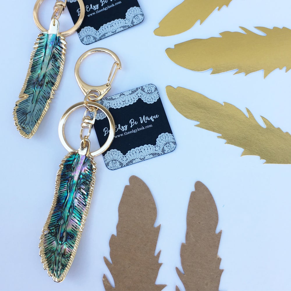 Image of Gold plated abalone shell lightweight feather key chain / purse charm