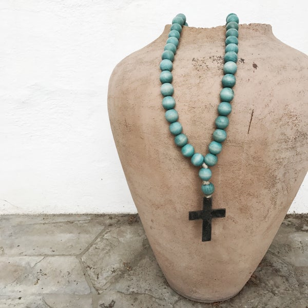 Image of Love Beads for your home...Original Style in Aqua with Cross-1