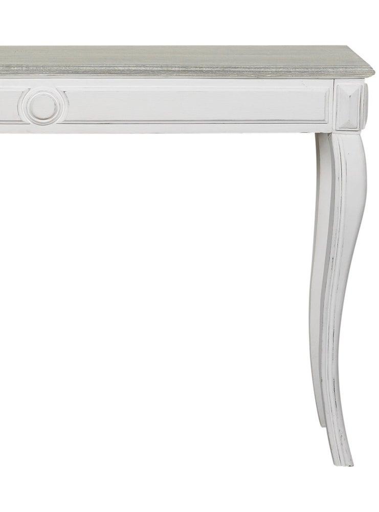 Image of Tavolo elegante piano grigio gambe bianco antico