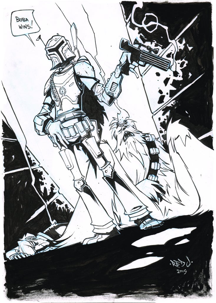 Image of ORIGINAL ART Star Wars Boba Fett Wins