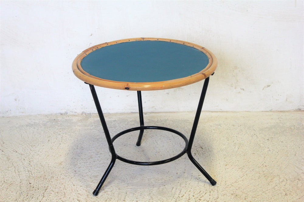 Image of Table basse vintage rotin métal