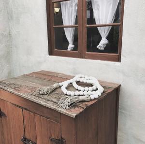Image of #100424 - Love Bead Double Tassel Table Runner - White Chunky Beads w/ Hemp Tassels