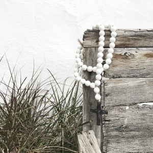 Image of Original Style Love Beads for home - White Beads with Cross-1