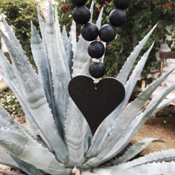 Image of Mini Style Love Beads - Modern Black with Heart-1