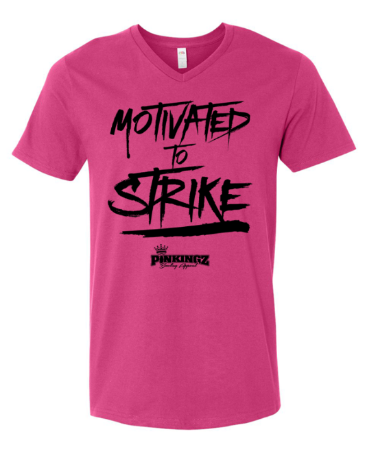 Image of Pinkingz Bowling T-Shirt | Motivated to Strike but Hoping to Carry! || Cyber Pink V Neck
