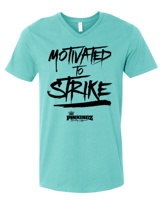 Image of Pinkingz Bowling T-Shirt | Motivated to Strike but Hoping to Carry! || Scuba Blue V Neck