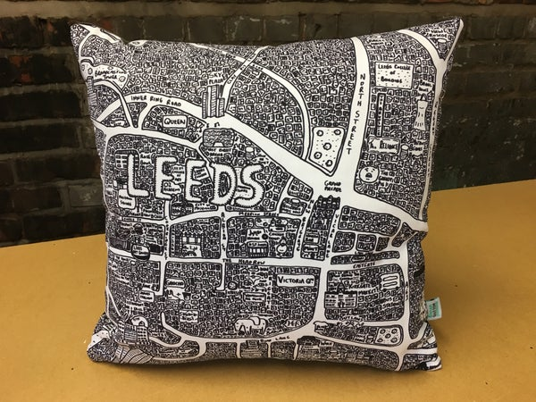 Image of Leeds Doodle Map Cushion