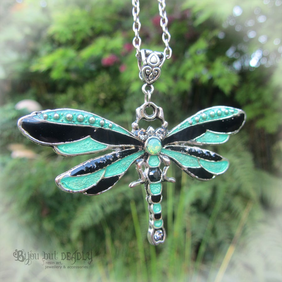 Image of Dragonfly Enamel Necklace