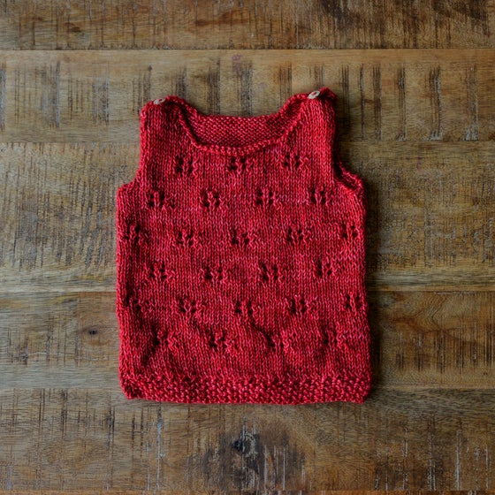 Image of BABY ALPACA WOOL VEST FLEUR BABY GIRL 6-12 MONTHS RED