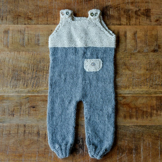 Image of HAND KNIT BABY ALPACA WOOL GARDENER OVERALL WHITE 6 TO 12 MONTHS