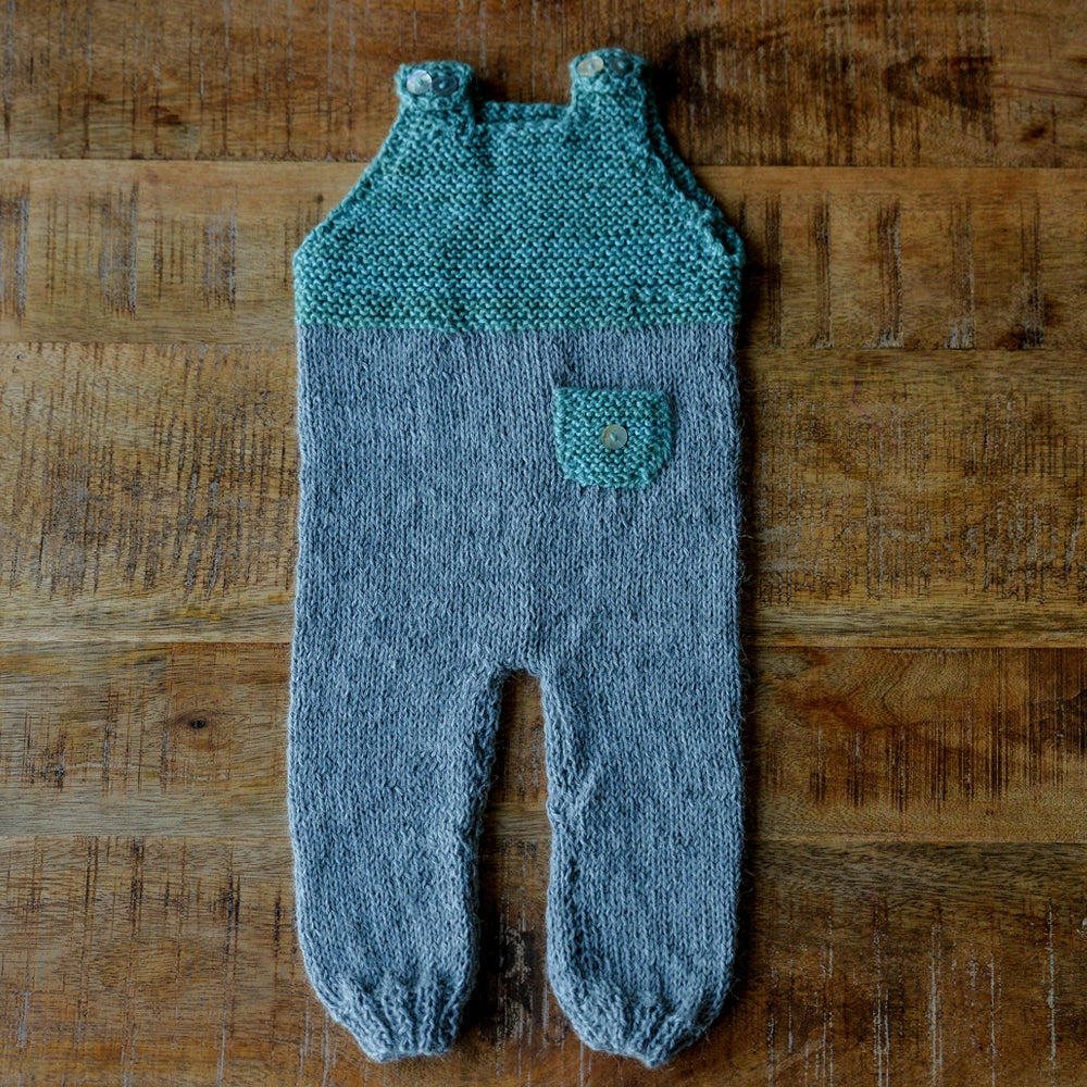 Image of HAND KNIT BABY ALPACA WOOL GARDENER OVERALL GREEN SIZE 1-6 MONTHS
