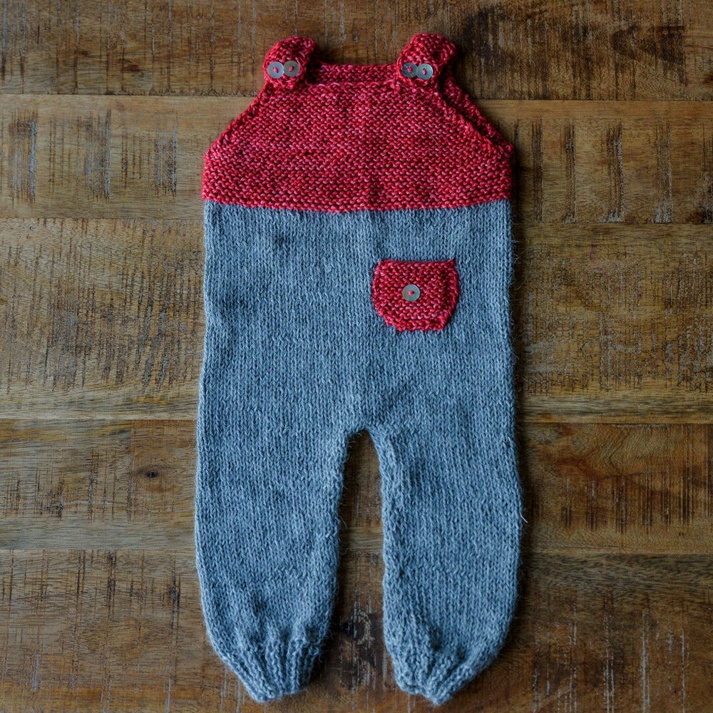 Image of HAND KNIT BABY ALPACA WOOL GARDENER OVERALL RED SIZE 1-6 MONTHS