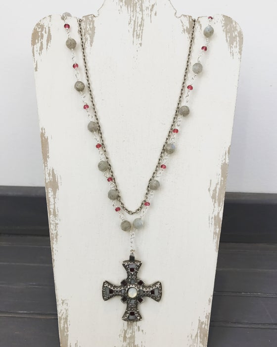 Image of Antique Celtic cross double necklace