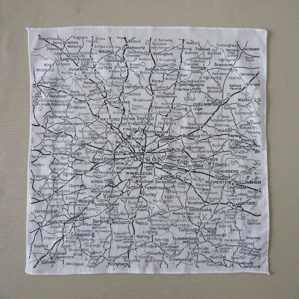 Image of Not Far From London Map Hankie