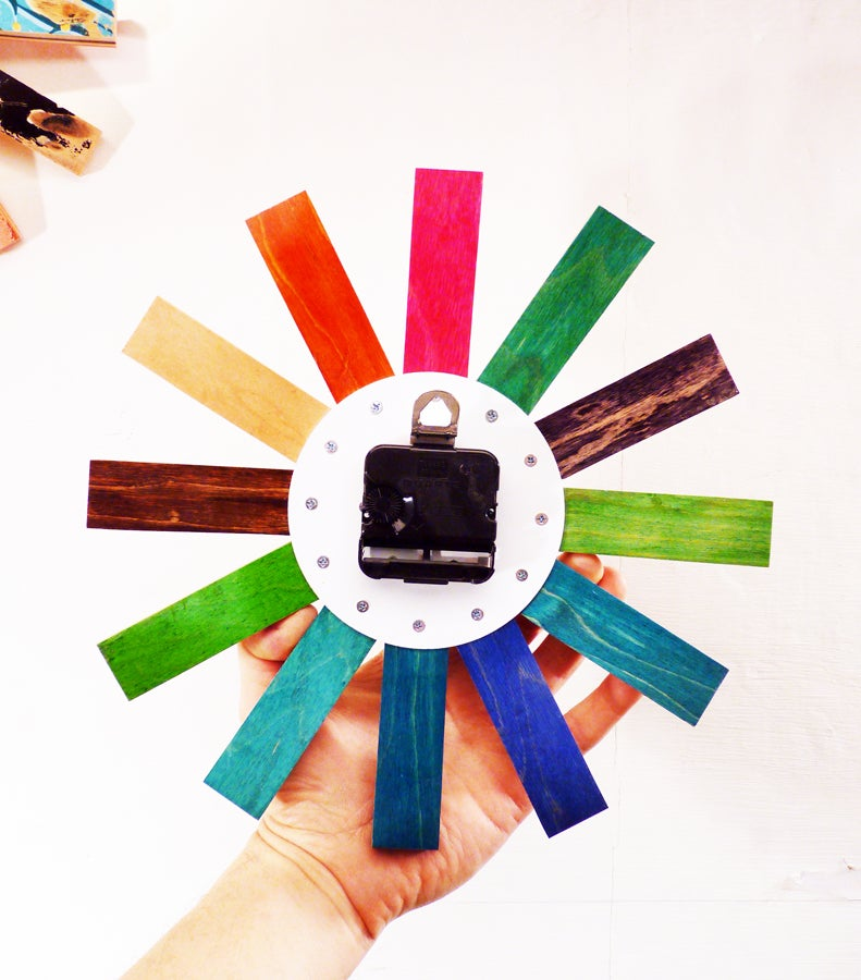 "Image of Wheel Bite Skateboard Clock - 10.5"" Dia. Wall Clock by Deckstool. Free (USA) Shipping."