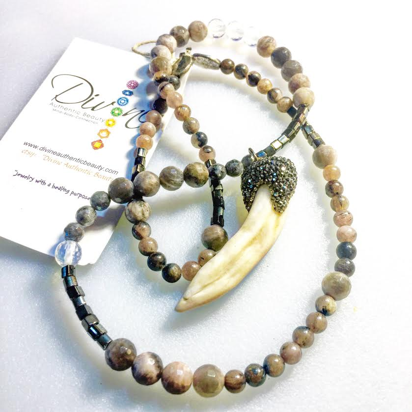 Image of Shamanic Hematite Encrusted Wolf Tooth with Chocolate Moonstone, Opalite, Silver
