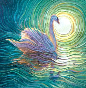 Image of White Swan Energy Painting - Giclee Print