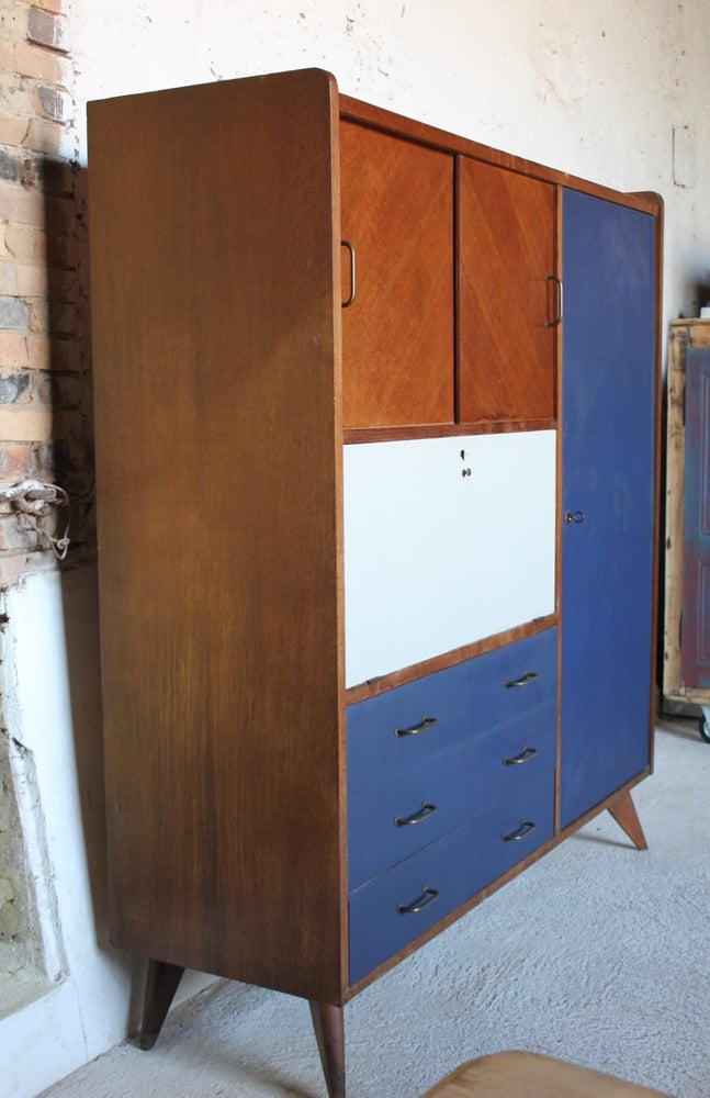 armoire secr taire bureau ann es 60 fibresendeco vannerie artisanale mobilier vintage. Black Bedroom Furniture Sets. Home Design Ideas