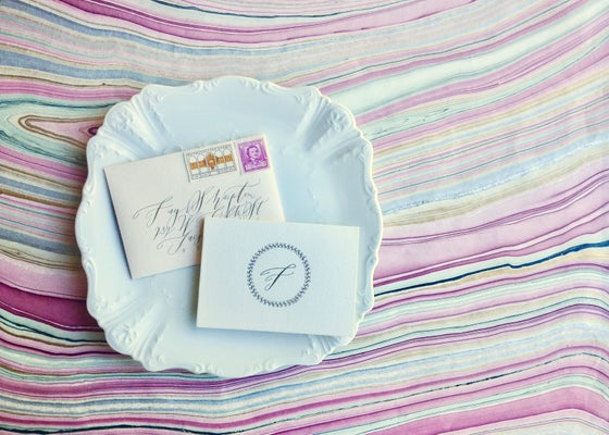 Image of Custom Blush Letter in Calligraphy
