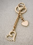Image of Heart Charm with Diamond Accents - Handbag Accessory, Keychain, Bag Charm - Gold or Nickel