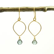 Image of Moss aquamarine earrings lotus loop v2 14kt gold-filled March birthstone