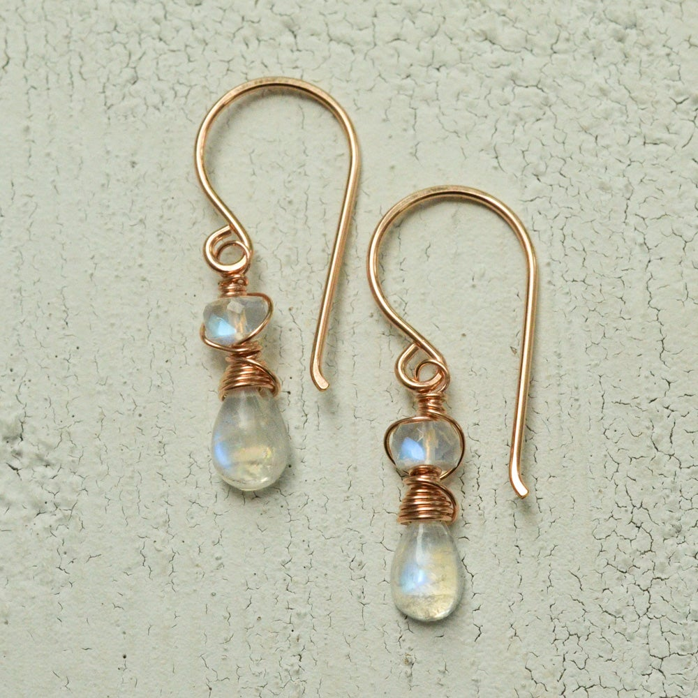 Image of Tiny rainbow moonstone earrings June birthstone jewelry