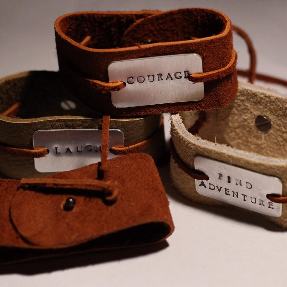 Image of Leather Stamped Metal Cuff Bracelet
