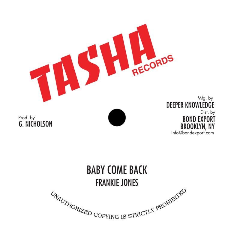 "Image of Frankie Jones/Steve Knight/Michael Palmer - Baby Come Back/Feel Like.../Jah Is... 10"" (Tasha)"