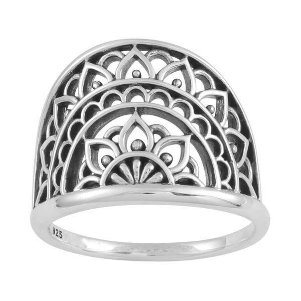 Image of Sterling Silver Mandala Sunrise Ring