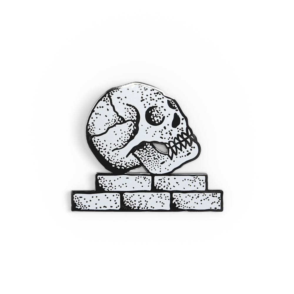 Image of Skull Brick Enamel Pin