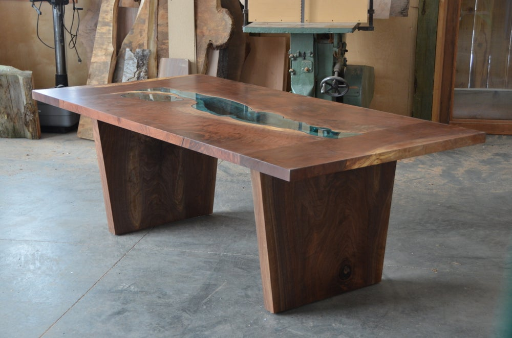 Image of walnut river + lake dining table