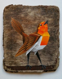 Image of Robin on driftwood - original painting