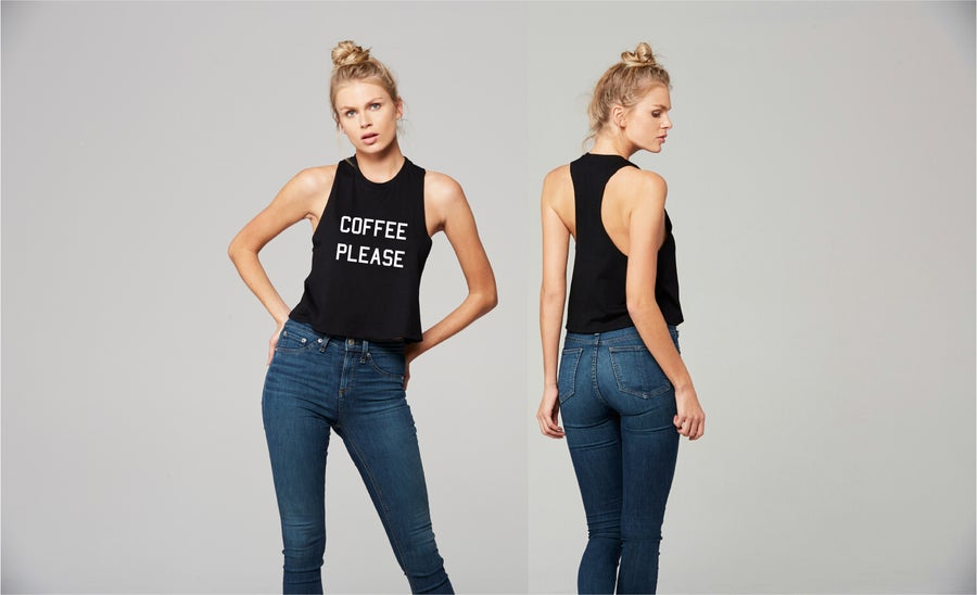 Image of Coffee Please racerback crop tank