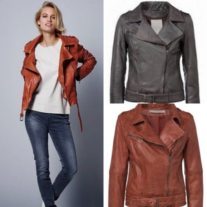 Image of Leather Biker Jacket - brick