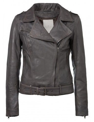 Image of Leather biker jacket - grey