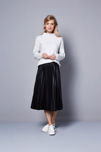 Image of Pleated pleather skirt