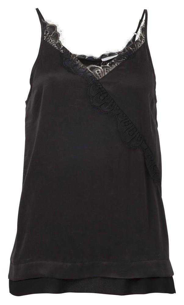 Image of Yaya Lace Detail Black Cami