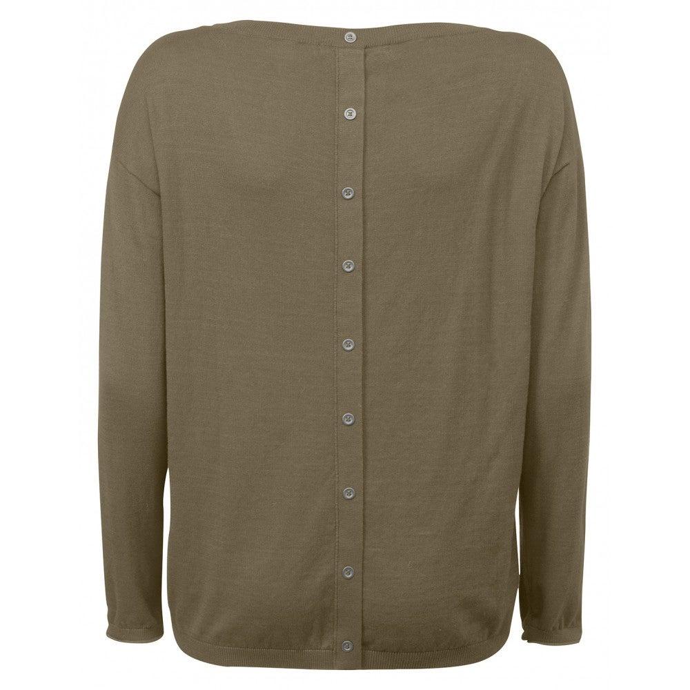 Image of Yaya Khaki Button Back Knit