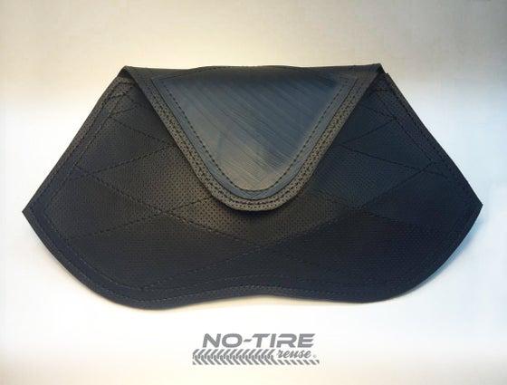 Image of No Tire SIGNATURE Cross Stitch Black Clutch