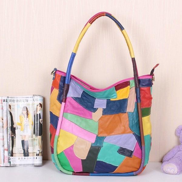 Image of Handmade Splicing Leather Women's Handbag Shoulder Bag Messenger Bag Travel Bag (m39)