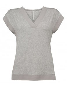 Image of Yaya Jersey V-Neck Tee Grey