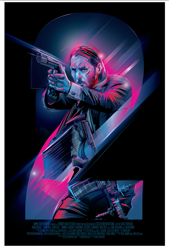Image of JOHN WICK 2- 24x36- Edtn 25- 2017- Dog Rescue Charity Sell
