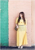 Image of 1930s Yellow Eyelet Lace Maxi Dress- 10/12