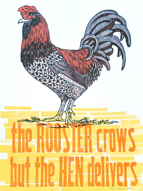 "Image of ""The Rooster Crows- The Hen Delivers"" Woodcut Print"