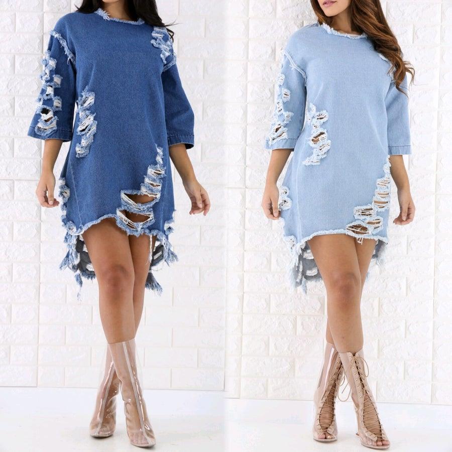 Image of Shredded denim dress